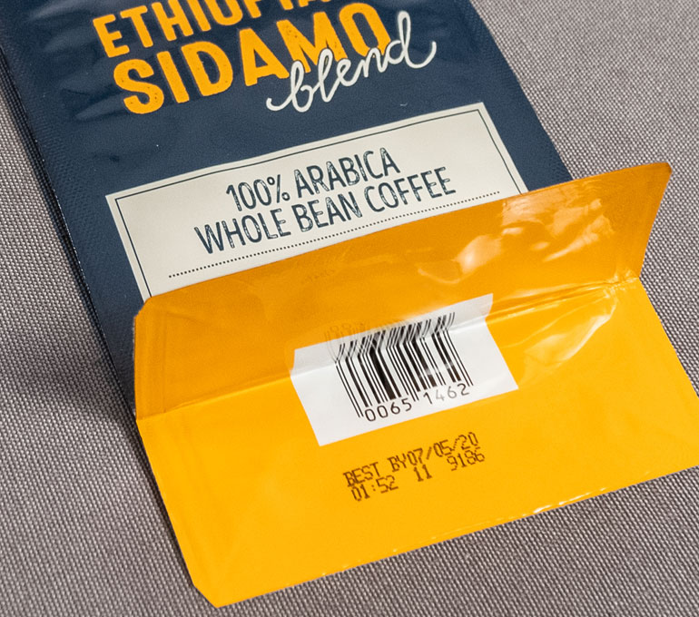 Coffee bag packaging with best before date