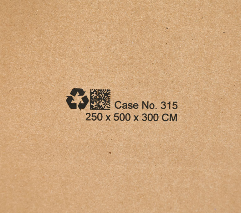 cardboard with graphic, QR code, case number, and dimensions