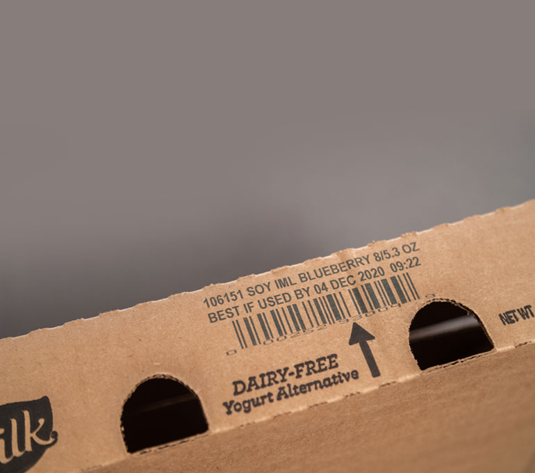 cardboard case for soy milk with barcode and best by date