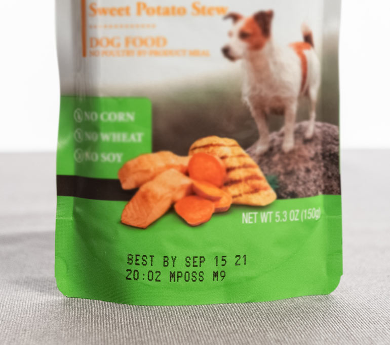 dog treats packaging with best by date and time