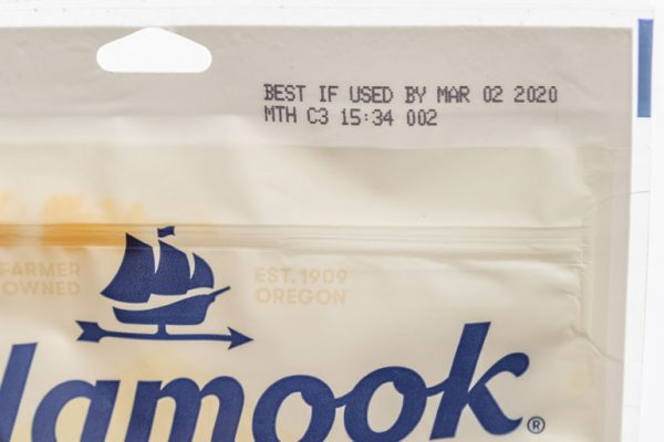 plastic resealable bag with best if used by date.