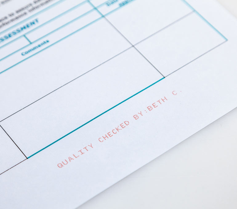 form with quality checked by name in red ink