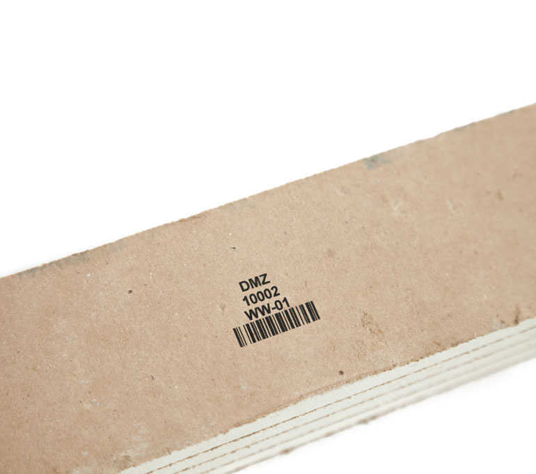 building material with text, numbers, and barcode