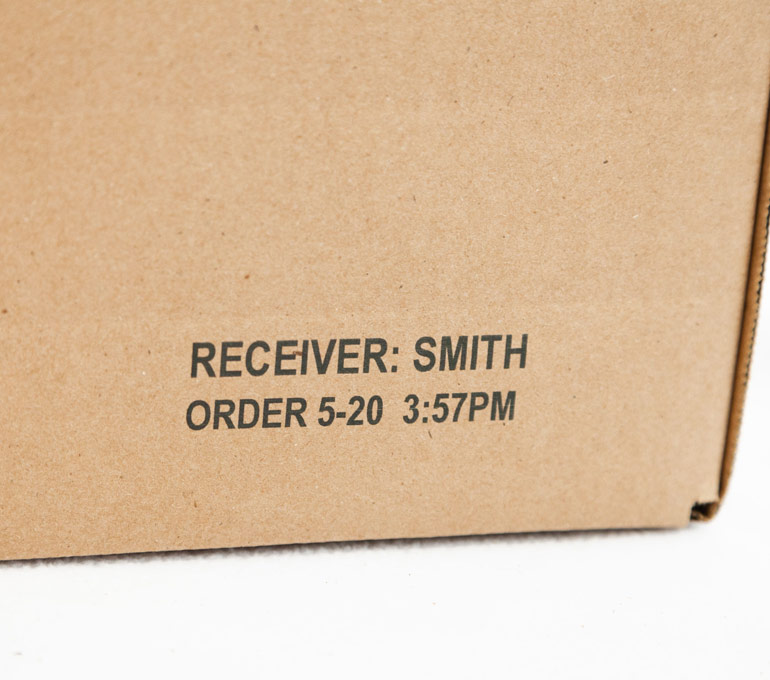 box with receiver name, date, and time