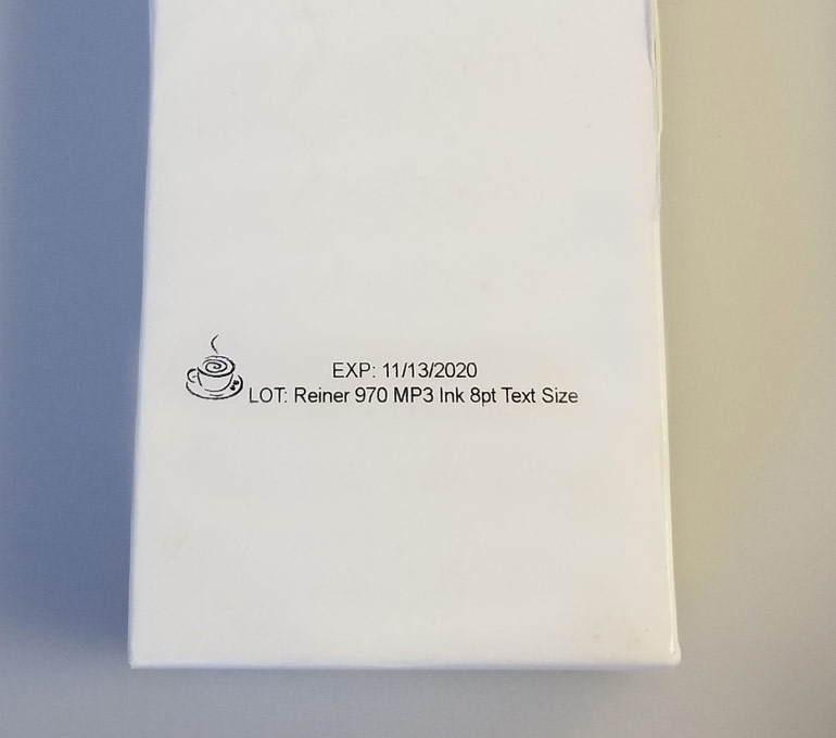 Expiration and lot number with logo of tea