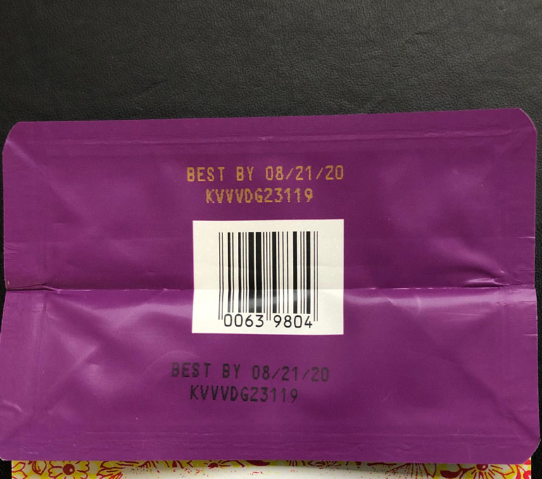 Coffee bag packaging with best by date and serial