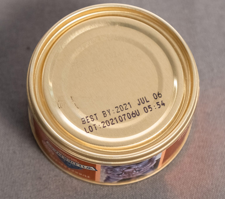 metal cat food tin with best by date and lot number