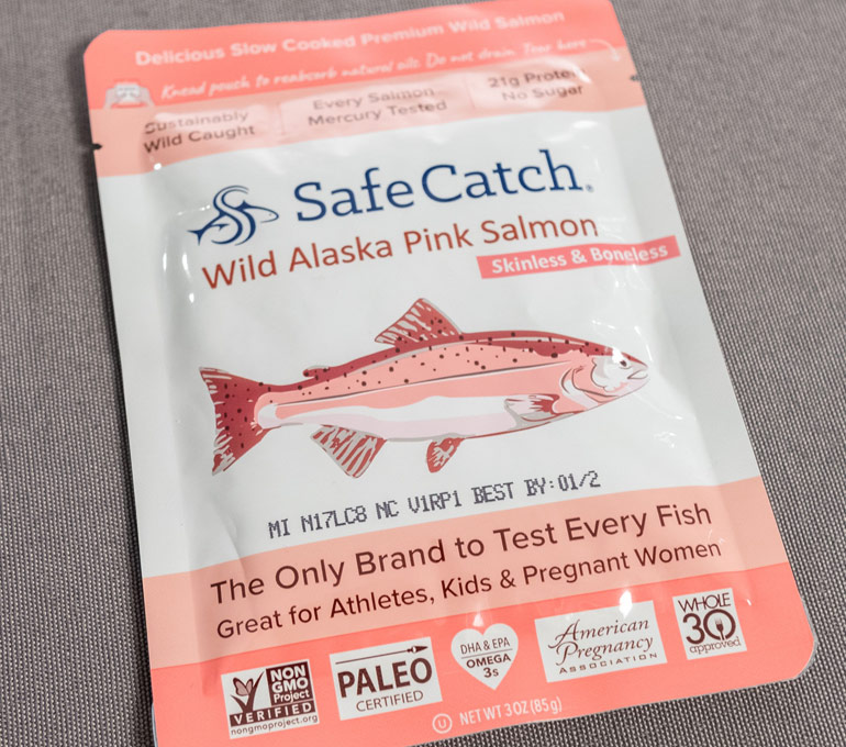 salmon foil pouch with best by date