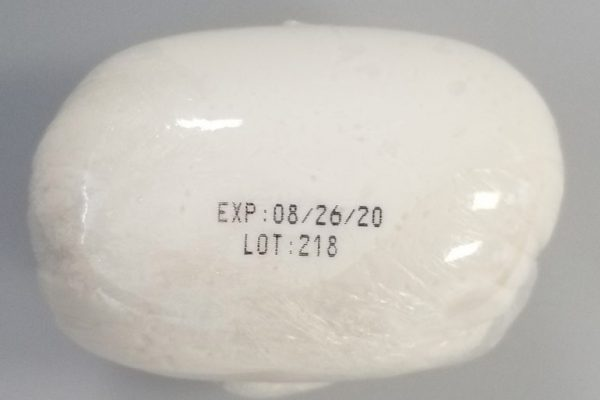 Mozzarella with expiration date and lot number