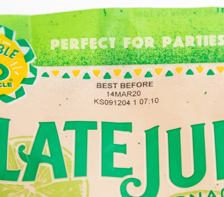 food plastic packaging with best before date