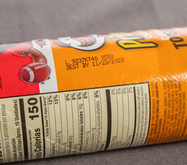 Pringles cannister with serial and best by date