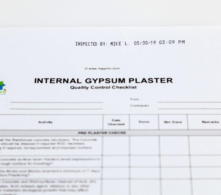 internal logistics form with inspection imprint