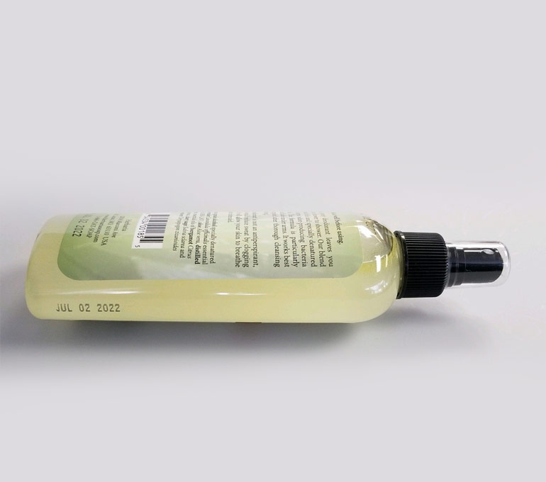 plastic spray bottle with date