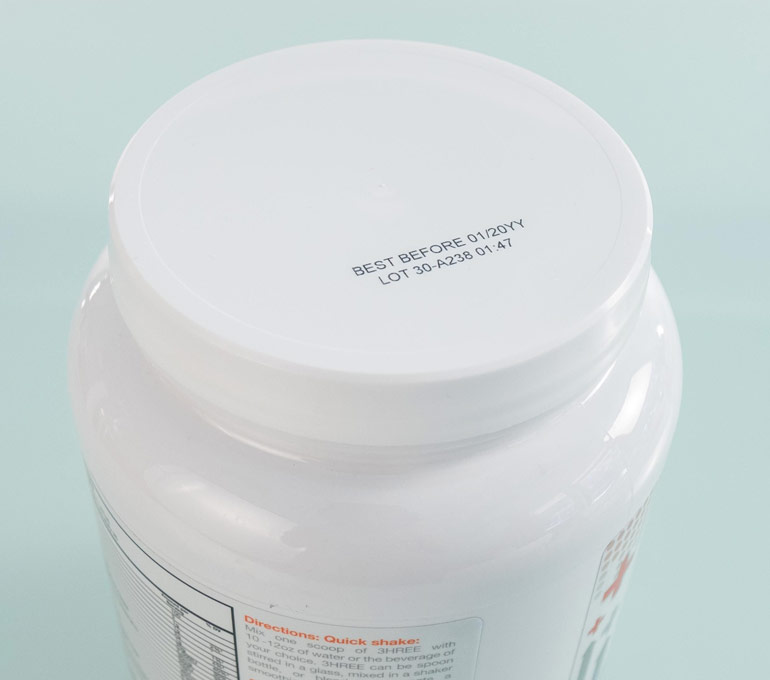plastic vitamins tub with best before date and lot code with time