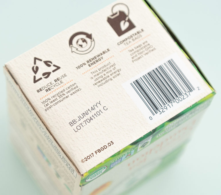 cardboard tea packaging with best by date and lot number