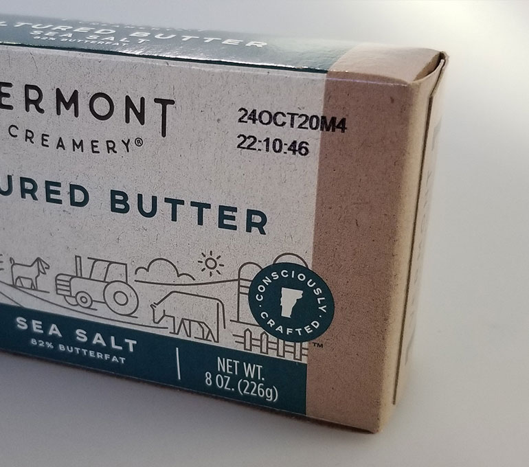 printing on butter package